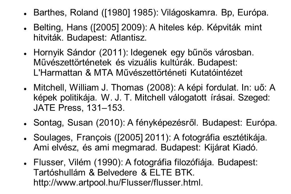 Barthes, Roland ([1980] 1985): Világoskamra. Bp, Európa.